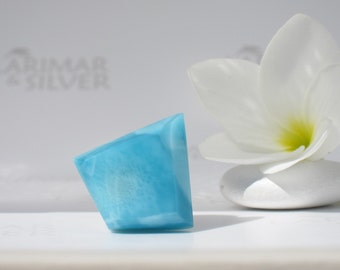 Larimar cabochon from Larimarandsilver, Azure Diamond - Caribbean blue Larimar diamond, topaz blue, blue lozenge, handmade Larimar supply