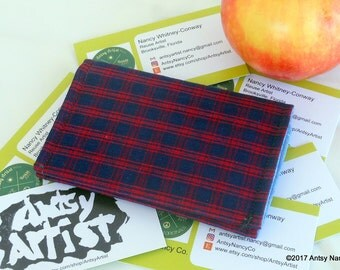 Red black plaid ID wallet  business card holder reuse vegan cotton black with red plaid pattern