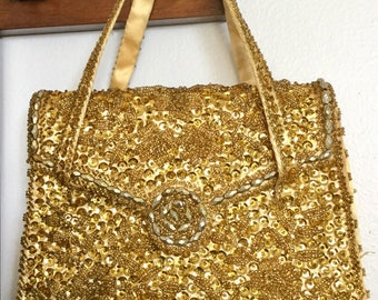 Beautiful Vintage 60s BON SOIR Gold Beaded and Sequined W/Wallet Hand Evening Bag