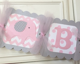 Elephant Baby Shower Banner Its a Girl Chevron Pink and Gray Elephant Decorations Polka Dot Grey Highchair banner Personalized Name Banner
