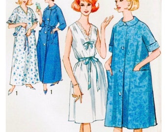 Simplicity 5001 - Size Small 10-12 - Bust 31-32 - Button Front Robe - Sleepwear - Nightgown Pattern - Housecoat - Round Neckline