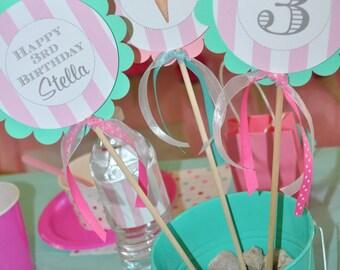 Ice Cream Birthday Centerpiece Sticks, Sweet Shoppe, Vintage Ice Cream Parlour, Ice Cream Cone Party Decorations, Ice Cream Social- Set of 3