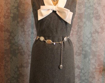 Sz S Gray Vintage Pencil-Cut Dress Giant Bow Secretary Style Mod