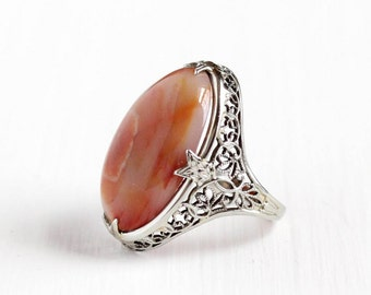 Sale - Vintage Art Deco 18k White Gold Agate Ring - Antique Size 5 Flower Filigree 1920s Red White Cabochon Gemstone Fine Statement Jewelry