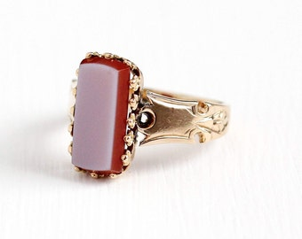 Antique Victorian 14k Rosy Yellow Gold Sardonyx Ring - Vintage 1890s Size 4 3/4 Banded Light Purple Orange Unique Gem Statement Fine Jewelry
