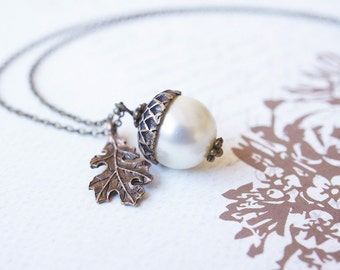 Necklace, Acorn Necklace, Brass Necklace, Peter Pan Necklace, Pearl Necklace, Swarovski Necklace, Handmade Necklace, Oak Necklace, Gift
