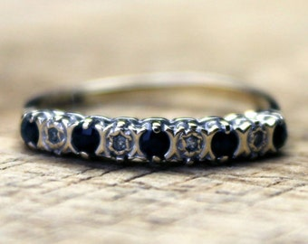 Vintage Gold Sapphire Diamond Eternity Ring Engagement 9ct 9k Yellow Gold | FREE SHIPPING | Size M.5 / 6.5