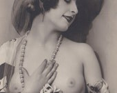 Mireille with Flowers 1, Semi Nude French Postcard by P-C Paris, circa 1920s