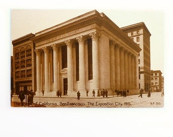 San Francisco Postcard, Bank of California, 1915 Exposition