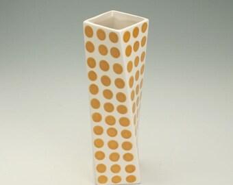 Ceramic Flower Vase, Amber Gold Ginger Polka Dots, Tall Modern Pottery Vase, Polka Dot Twisted Vase, Hand Painted Flower Vase