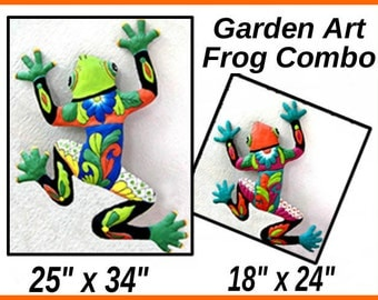 Save on Frog Art Combo, Frog Art Wall Hanging - Painted Metal Art, Metal Wall Art, Outdoor Garden Art - Metal Wall Decor, M702-GR-OR-Combo2