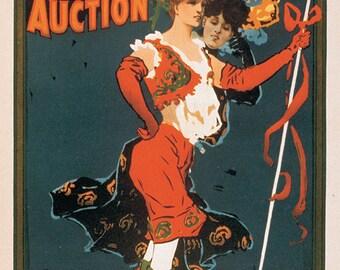 Devils Auction, Vinatge Art Postcard Print