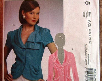 Misses Lined Jackets, Semi-fitted with Shawl Collar Variations Sizes 4 6 8 10 12 McCalls Pattern M5815 UNCUT