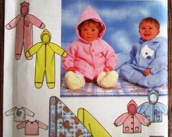 Babies Romper, Jacket, Pants, Blankets and Knit Top Sizes NB S M L Simplicity Pattern 7807 UNCUT