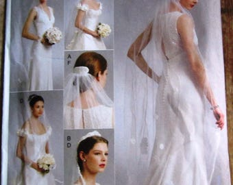 Bridal Veils in 4 Styles, Headpiece and Tiara Vogue Pattern V8569 UNCUT