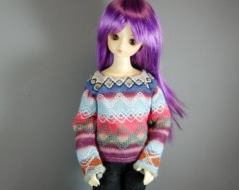 MSD Long Sleeve Blue, Green, Pink/Coral Knit Fair Isle Sweater for Boy & Girl BJD