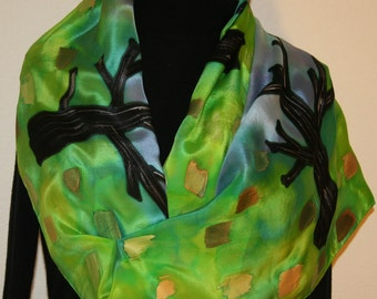 Hand Painted Silk Scarf. Green, Turquoise & Gold Handmade Scarf, ENCHANTED FOREST. Silk Scarves Colorado. Large 14x72. Birthday Gift