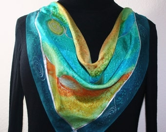 Teal, Orange, Turquoise Hand Painted Square Silk Scarf MOUNTAIN DAY, in 3 SIZES, by Silk Scarves Colorado. Valentine Gift, Birthday Gift