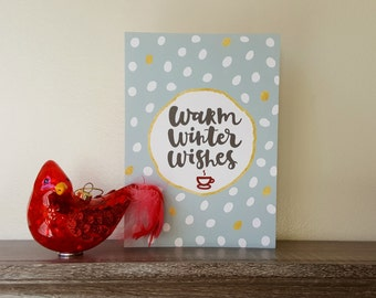 Set of 10 - Warm Winter Wishes Greeting Cards - Holiday Cards