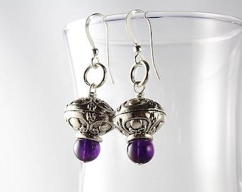 Amethyst Earrings, Purple Earrings, Boho Earrings, February Birthstone, Protection Gemstone, Gift under 20, Gift for Her, Stress Relief Gem
