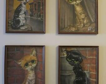 Big Eyes sad CAT litho painting set of 4 Tabby kitten Keane style Gig DAC NY