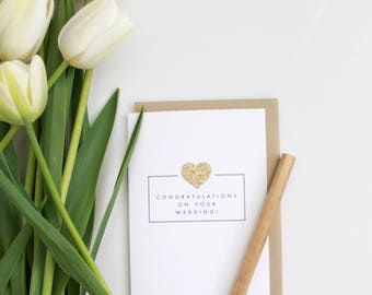 CONGRATULATIONS on your wedding day Card // gold heart // glitter heart // wedding card // gold // wedding // congratulations wedding