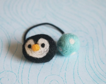 Needle Felted Hair Tie (Penguin)