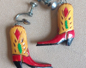 vintage colorful wooden cowgirl boot earrings
