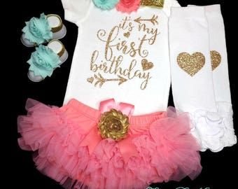 1st Birthday Girl Outfit, First Birthday Bodysuit, Cake Smash, Photo Prop, Coral Tutu Bloomer, Coral and Gold Birthday Outfit, Birthday Set