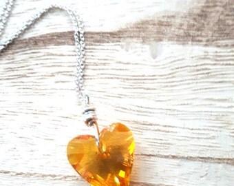 Swarovski Sunflower - Swarovski Heart - Swarovski Crystal Necklace - Valentines Day - Sterling Silver Necklace - Crystal Heart - Heart