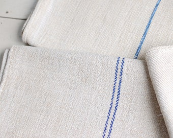 VINTAGE European Grain Sack with BLUE stripes - LONG
