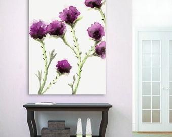 Watercolor Painting - Milk Thistle - Floral Sumi-e Art Print