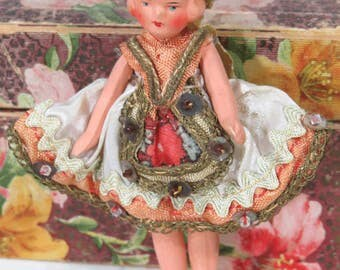 Vintage Hertwig Bisque Doll, Germany, 1930s, Wire Jointed, Original Ethnic Folk Clothes, Doll House Miniature