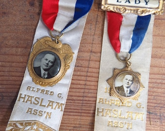 2 Antique Ribbon Badges, Member & Lady, 1920s Haslam Ass'n District Assembly Political Organization, Brooklyn NY