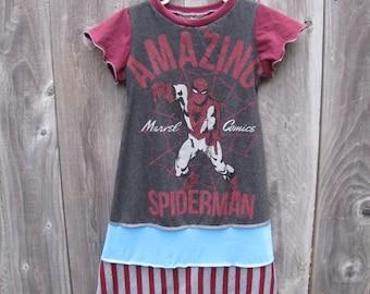 The Amazing Spiderman Upcycled Dress Size 5/ 6 Long