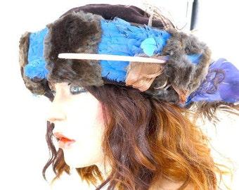 1940 Brown Velvet & Fur, Blue Feathered, Plumed Hat