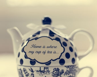 Teapot still life photography, vintage style home decor, shabby chic, cup of tea, eclectic decor, polkadots, fine art