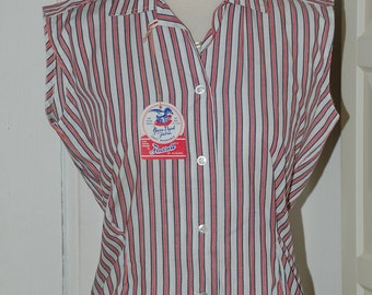 50s Blouse, Deadstock, Stripes, Cotton, Hourglass, NWT, Sleeveless, Gabey, Top, Size M