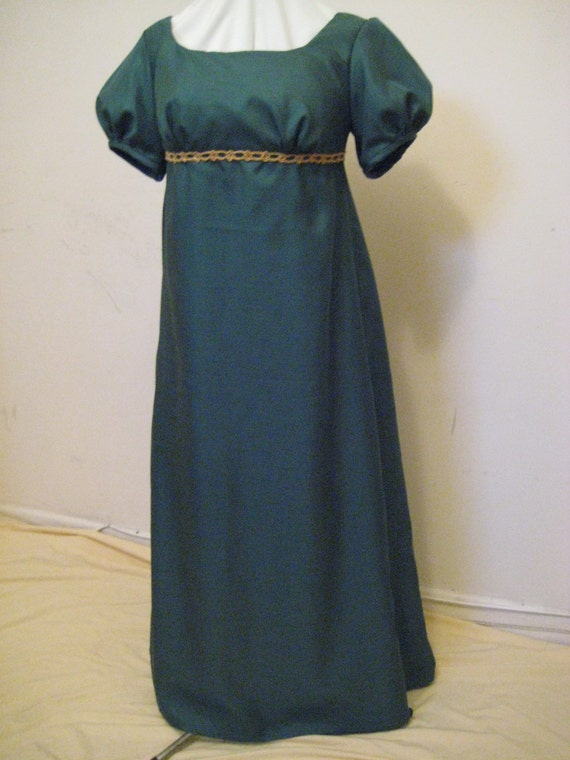 Regency Dress, Ball Gown. Jane Austen. CUSTOM MADE. Gathered Front. Faux Silk. Various Colours
