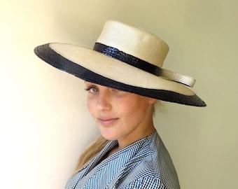Vintage 1960's/Mr John Hat/Creme and Navy Blue Wide Brim Straw Hat/60's Creme and Navy Straw Sun Hat/Wide Brim Picture Hat
