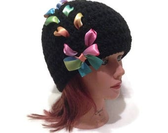 Rainbow Bow Hat, Kawaii Hat, Rainbow Ombre, Lace Up Beanie, Teen Girl Gift, Hat with Bow, Teen Girl, Rainbow Hat, Ombre Hat, Black Bow Hat