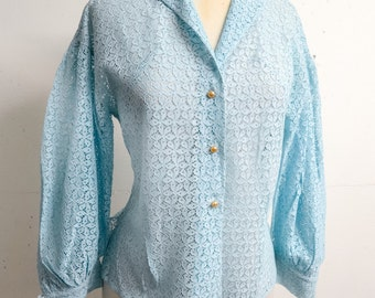 1950s Pale blue lace gathered sleeve blouse / 50s pastel sheer long sleeve shirt - S