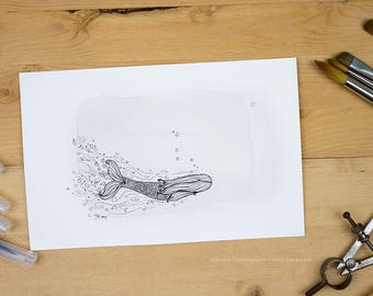 Passion of the Sea - Original tea and ink illustration of a Mermaid
