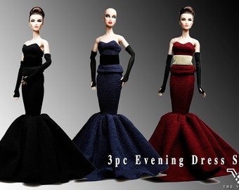 FRS1006 3 pc The Vogue Fashion Evening Dress for Barbie Fashion Royalty Silkstone Poppy