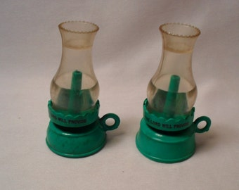 "Unusual Plastic OIl Lamp with "" The Lord Will Provide"" Salt and Pepper Shakers"