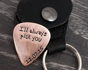 Wedding Personalized Copper Guitar Pick / I'll always pick you / Rustic PIck / Groom Gift