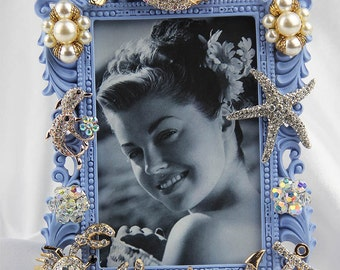 Sparkly, Rhinestones and Crystals on a Blue, Sealife Inspired Picture Frame, All Occasion Gift