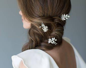 Wedding Hair Pins, Leaf Hair Pins, Floral Hair Pins, Flower Hair Piece, Wedding Hair Piece, Wedding Hair Accessory