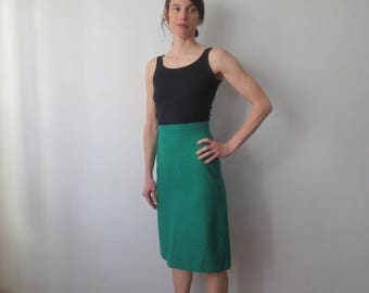 Vintage '60s Gorgeous High Waisted Rich Green Wool Pencil Skirt by Lady D'Virgos, Mexico, XS - Small