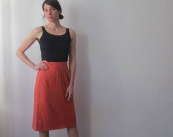 Vintage '50s Hamilton New York Coral Wool Pencil Skirt w/ Incredible Pocket & Kick Pleat Detail, 26 Inch Waist